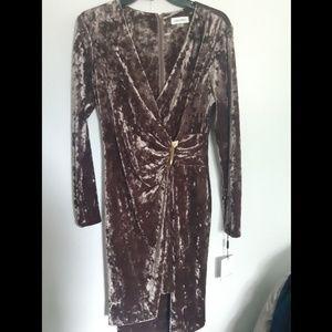 NWT Calvin Klein Brown Wrap Dress